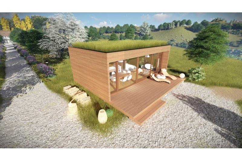 Micro Mini Tiny Maison 37m Rest House 100 Bois Lodge Golf