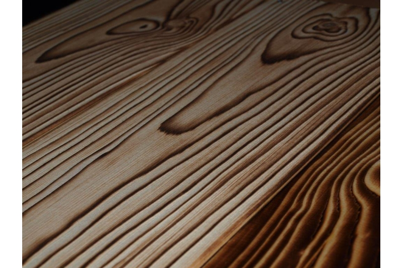 bardage lambris bois massif brûlé noirci avec fixateur en sapin ...