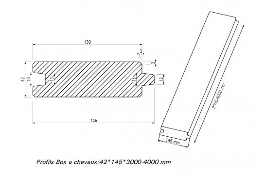 Profil Box à chevaux ou profil chalet Douglas 32 x 135 utile